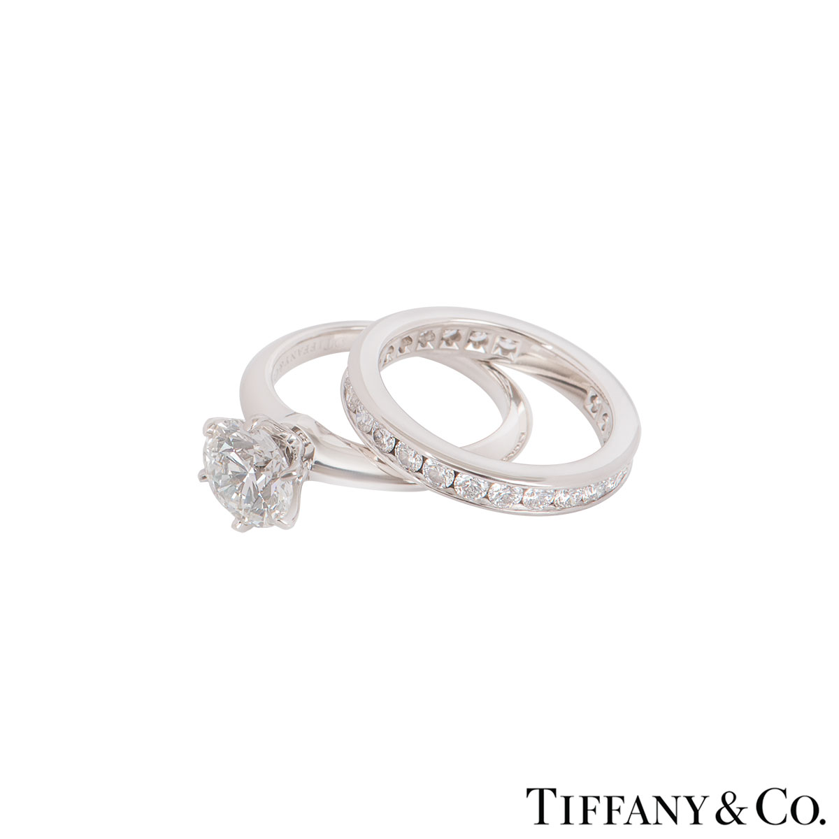 Tiffany & Co. Platinum Diamond Ring 1.61ct I/VS2 XXX With A Full Diamond Eternity Ring
